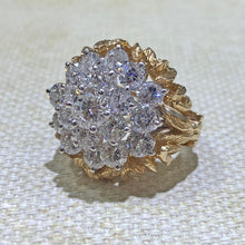 Load image into Gallery viewer, Estate - 14K Two-Toned 2-Piece Diamond Cluster Ring