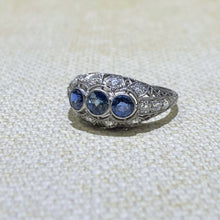 Load image into Gallery viewer, Estate- Platinum Sapphire & Diamond Filigree Ring
