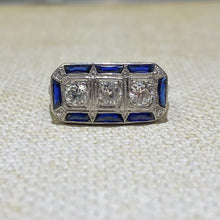 Load image into Gallery viewer, Platinum Elongated .70 Carat Weight (approximate) and Sapphire Estate Ring.  Finger Size is 6.25
