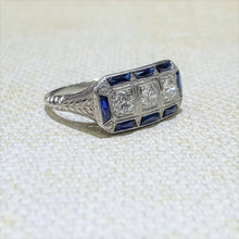 Load image into Gallery viewer, Estate - Platinum Sapphire & Diamond Ring