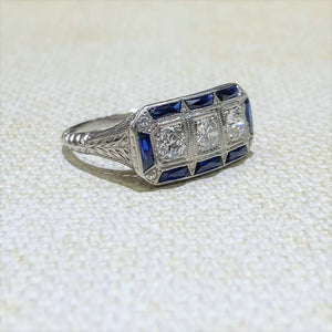 Estate - Platinum Sapphire & Diamond Ring