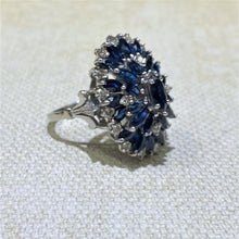 Load image into Gallery viewer, Estate-18KW Gold Sapphire & Diamond Cluster Ring