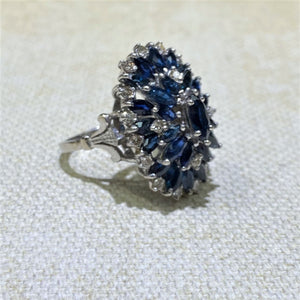 Estate-18KW Gold Sapphire & Diamond Cluster Ring