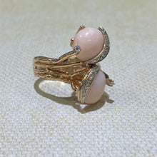Load image into Gallery viewer, Estate- 14KY Coral & Diamond Freeform Ring