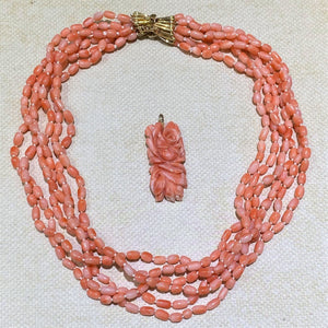 Estate- 14KY 6 Strand Coral Necklace & Carved Pendant