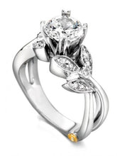 "Load image into Gallery viewer, 14 Karat White Gold ""Mystic"" Engagement Ring designed by Mark Scneider, contains 15 diamonds totaling .145 carat. the Center stone is not included in the price and is sold separately. Finger size is 6.5"