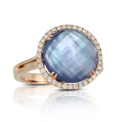 18 Karat Rose Gold Lapis over Mother of Pearl over Amethyst ring with a diamond halo. Finger size is 6.5