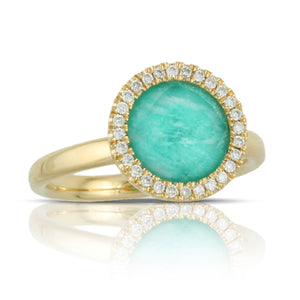 18 Karat Yellow Gold Clear Quartz over Amazonite Round Ring with a Diamond halo. Finger size is 6.5