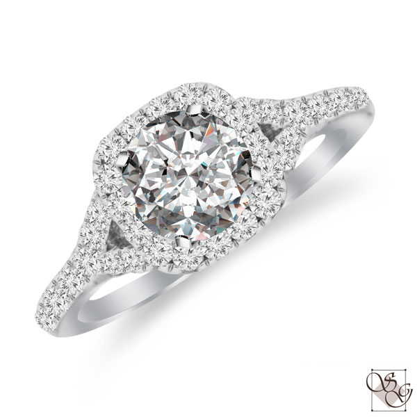 An Exquisite design to hold your 3/4 carat center stone (not included in price), This 14 Karat White Gold 38 diamond ring mounting will surely capture her heart. Total Diamond weight is .55ctw.  Center stone sold separately, not included in price  finger size is 6