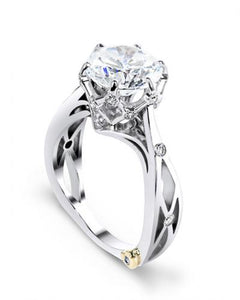 "14 Karat White Gold ""Sacred"" engagement ring, designed by Mark Schneider, contains 17 diamonds totaling .105 carat. The 1 Carat center stone is sold separately and not included in the price. Finger size is 6.5"