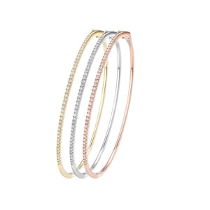 14 karat hinged .45 diamond total weight single row bangle bracelet available in white, yellow or rose