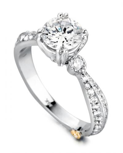 14 Karat White Gold Engagement ring designed by Mark Schneider contains 59 diamonds totaling .445 Carat. The center stone is sold separately and is not included in the price. The finger size is 6.5