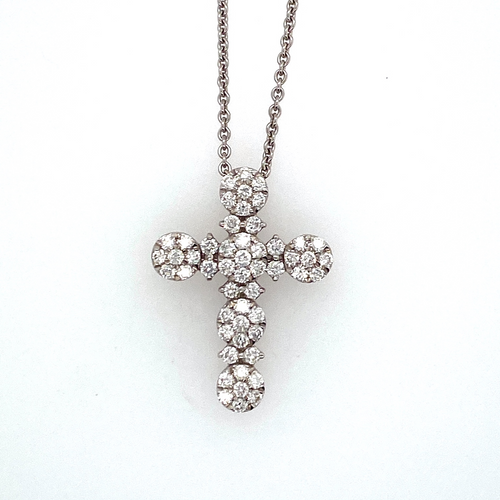 This Estate Necklace Features a Cross, Cluster Set with Sparkling Diamonds. The 18 Karat White Gold 18