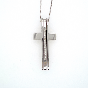"This Unique Estate Cross Features Three Pieces to form a Cross. The Center Section of the Cross is set with Sparkling Round Diamonds.  You can Wear the Cross with the Center Diamond Bar or leave it out for a High Polished Cross with no Diamonds. The 16"" 14 Karat White Gold Chain is Included, Total Weight 7.0 Grams  Measures Approximately 29.0mm x 14.0mm"