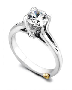 "14 Karat White Gold ""Exquisite"" Engagement Ring contains 3 diamonds, totaling .085 carat total weight. the center stone is sold separately and not included in the price. The finger size is 6.5. the ring is designed by Mark Schneider"