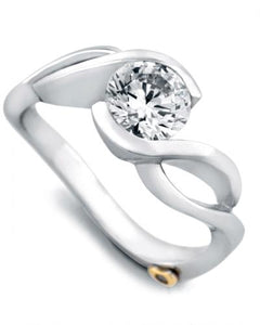 "14 Karat White Gold ""Fire"" engagement ring designed by Mark Schneider, contains one .005 carat diamond. The Center half carat center stone is sold separately and not included in the price. The finger size is 6.5"