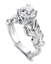 Load image into Gallery viewer, 14 Karat White Gold Flora engagement ring designed by Mark Schneider, contains 5 bezel set diamonds.  the center stone is not included and is sold separately. Finger size is 6.5