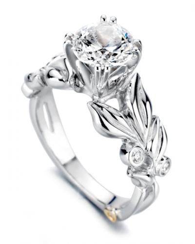 14 Karat White Gold Flora engagement ring designed by Mark Schneider, contains 5 bezel set diamonds.  the center stone is not included and is sold separately. Finger size is 6.5