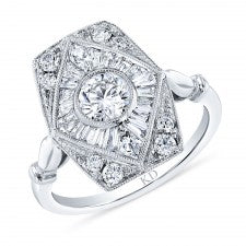 18 Karat White Gold Diamond Art Deco Ring. Total Weight of diamonds is 1.18Carats. Finger size is 6.5