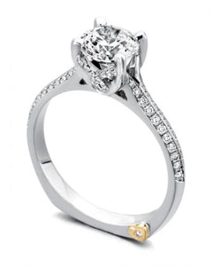 "The 14 Karat White Gold ""Je T'aime engagement ring contains 63 diamonds, totaling .26 Carat.  the Center stone is sold separately and is not included in the price. Finger size is 6.5. Designed by Mark Schneider"