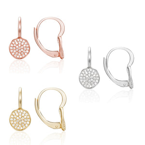 available in 14 karat white, yellow, or rose gold, these pave leverback earrings have a diamond total weight of .23 carat