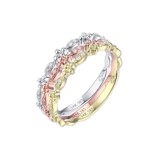 14 karat stackable band with .03 total carat weight of diamonds available in white, yellow, or rose gold