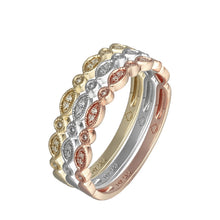 Load image into Gallery viewer, 14 Karat Gold Diamond Mil Grain Edge Stackable Band