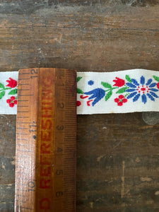 Vintage White trim with Red and Blue Flowers