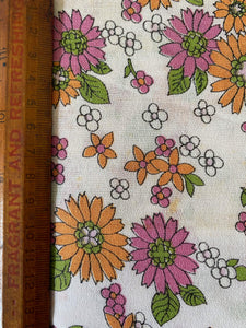 Vintage pink and orange floral fabric.
