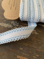 Load image into Gallery viewer, Vintage blue double scalloped edged woven trim