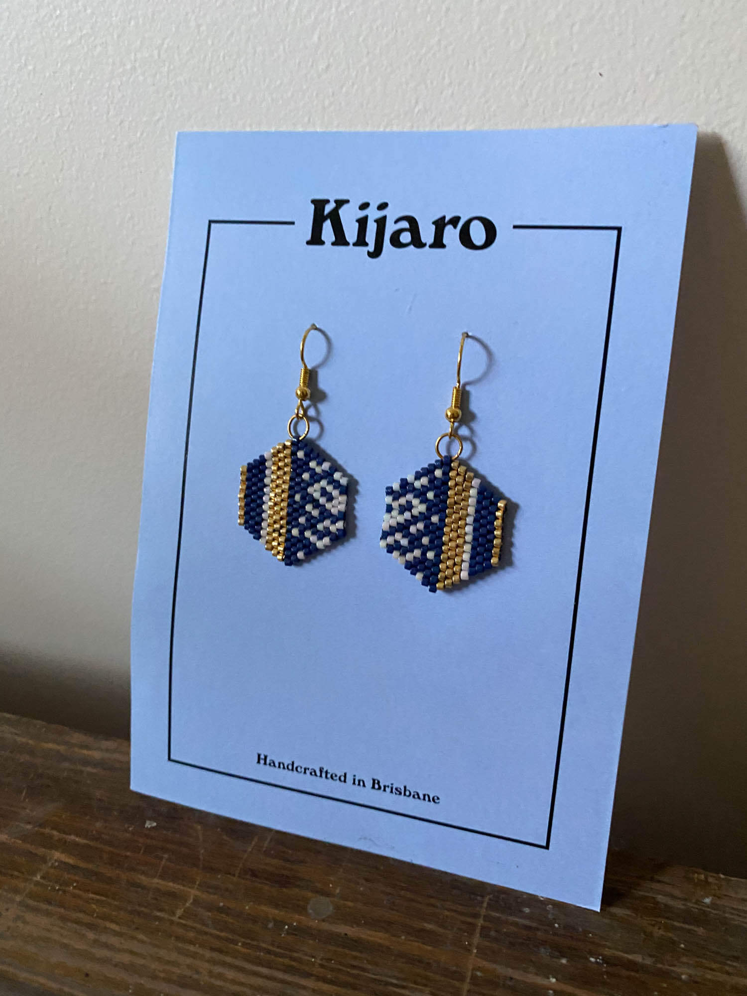 Hand beaded/woven earrings- Hexagon Navy and Gold