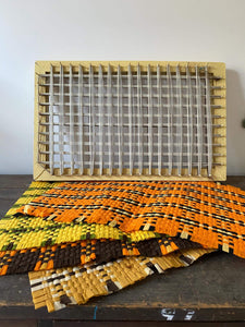 Vintage Handmade Rectangular Weaving Loom with Placemats