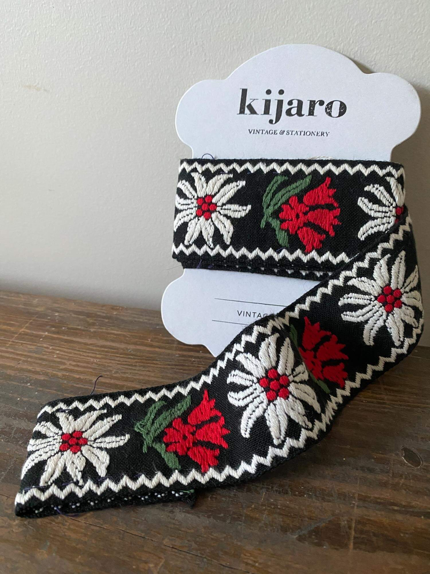 Vintage Black Trim with Red and White Flowers