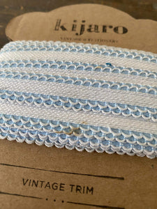 Vintage blue double scalloped edged woven trim