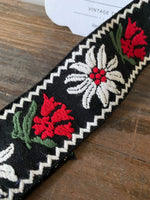 Load image into Gallery viewer, Vintage Black Trim with Red and White Flowers