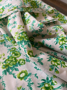 Vintage Synthetic Floral Fabric- Green/Teal/White