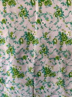 Load image into Gallery viewer, Vintage Synthetic Floral Fabric- Green/Teal/White