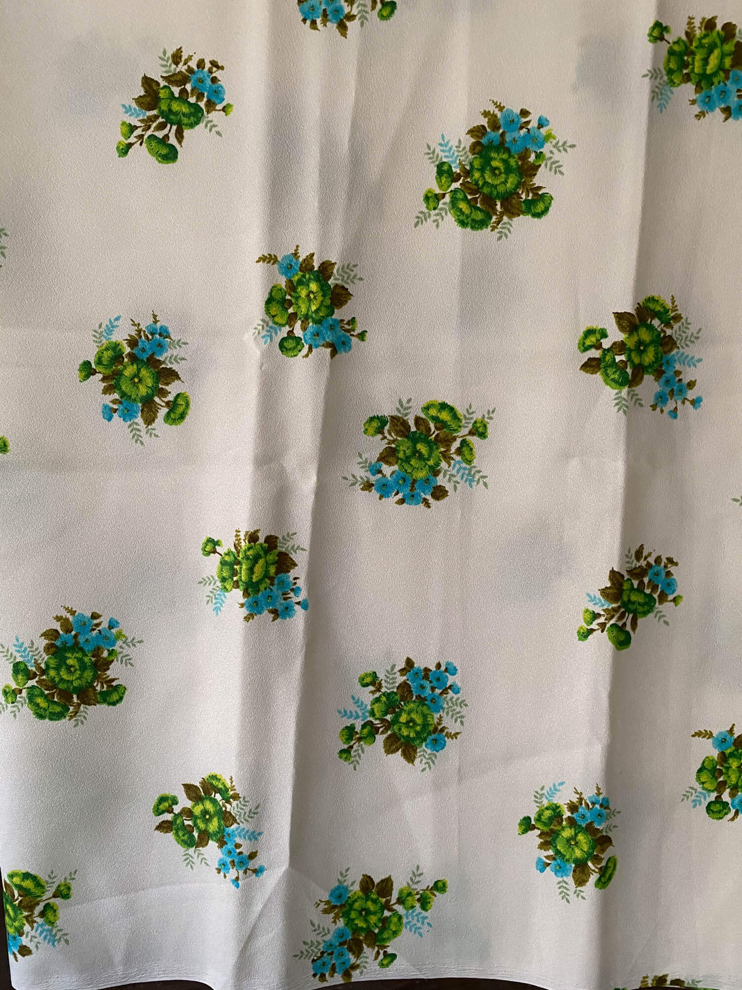 Vintage Synthetic Floral Fabric- Pastel Green with Green/Blue Flowers