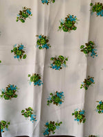 Load image into Gallery viewer, Vintage Synthetic Floral Fabric- Pastel Green with Green/Blue Flowers