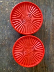 Pair of Matching Fire Engine Red Tupperware Containers