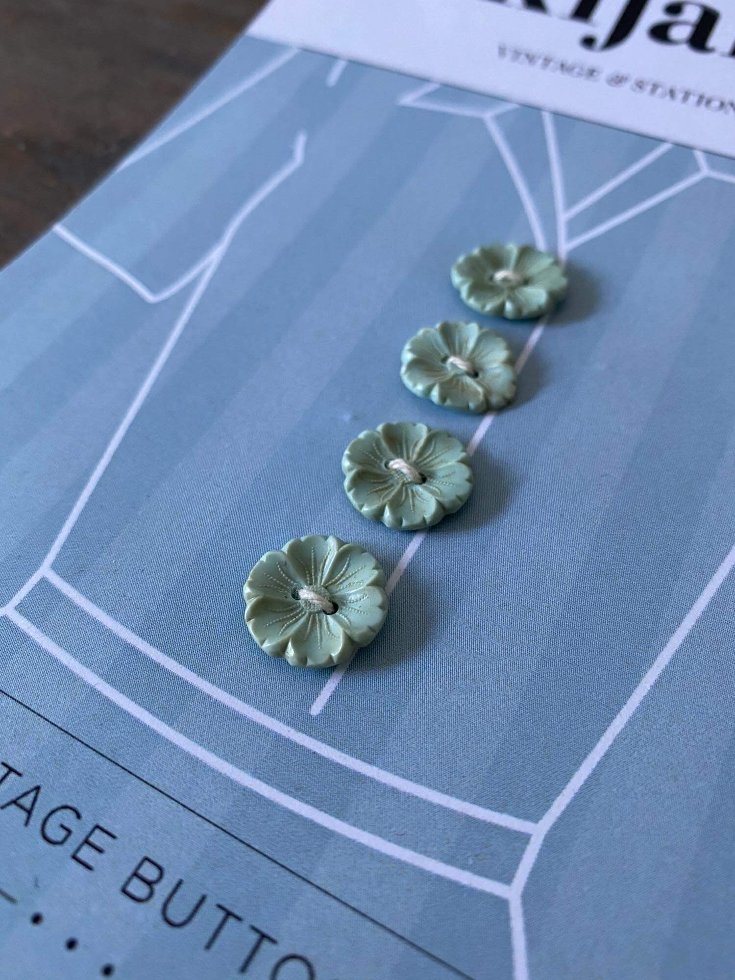 Vintage Blue/Green Flower Buttons