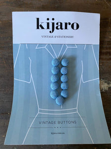 Vintage Blue Fabric Covered Buttons