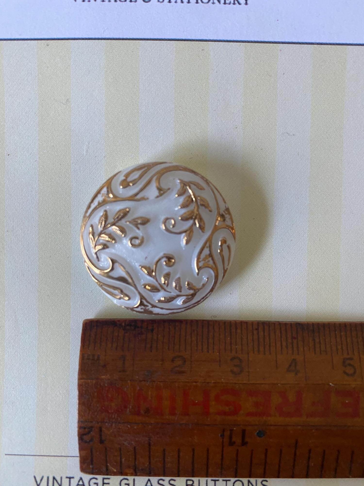 Vintage White and Gold Glass Button