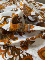 Load image into Gallery viewer, 3.5m Vintage Brown Floral Fabric with White pattern