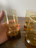 Load image into Gallery viewer, Set of 4 Vintage Amber Glasses