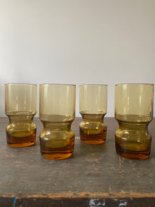 Set of 4 Vintage Amber Glasses