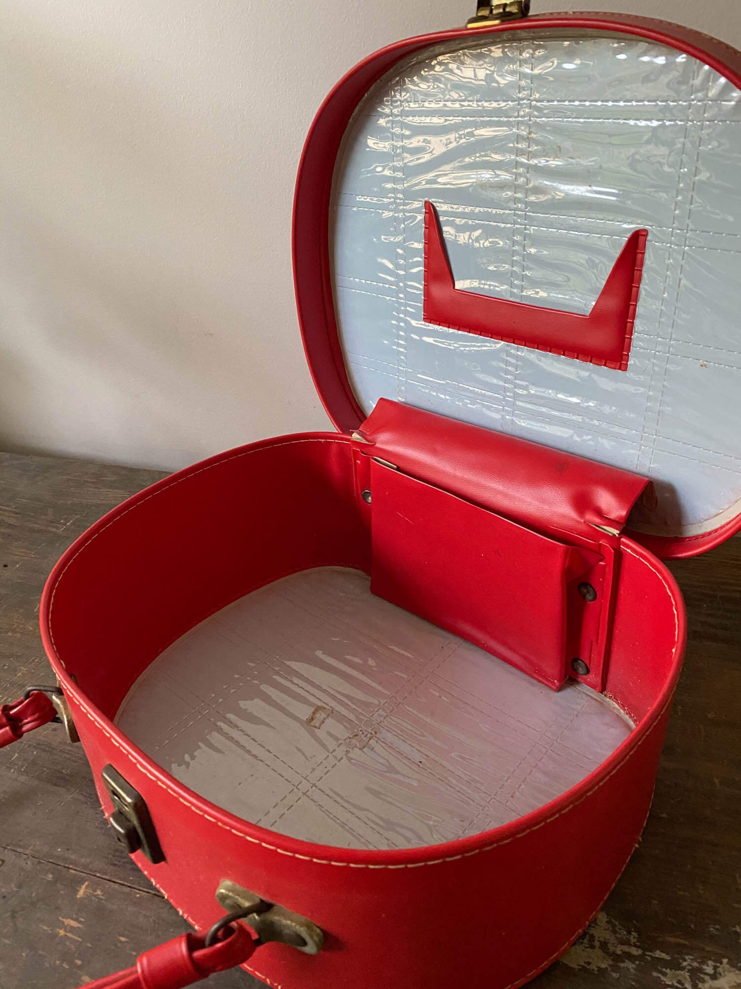 Vintage red travel beauty case.