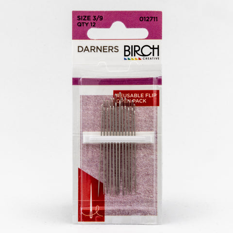 Birch darners – size 3/9 darning needles – 12-pack