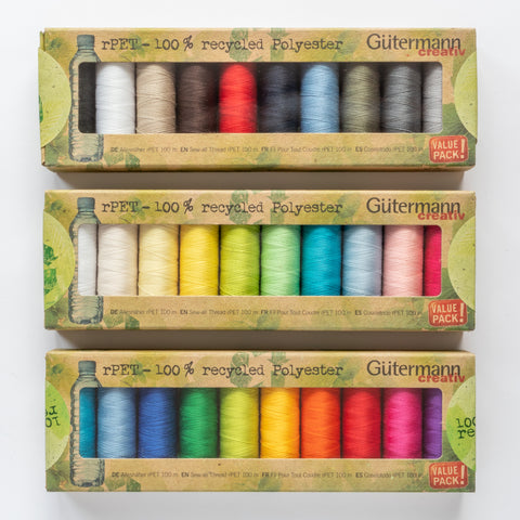 Gutermann rPET sew-all – recycled polyester sewing thread – box set of 10 spools