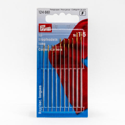 Prym cotton darners – size 1-5 long darning needles – 10-pack